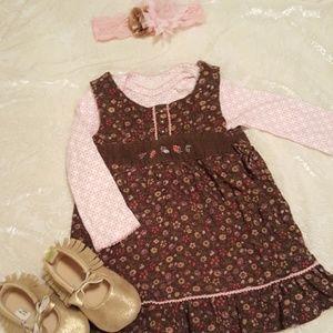 Corduroy brown floral dress w/long sleeve onesie